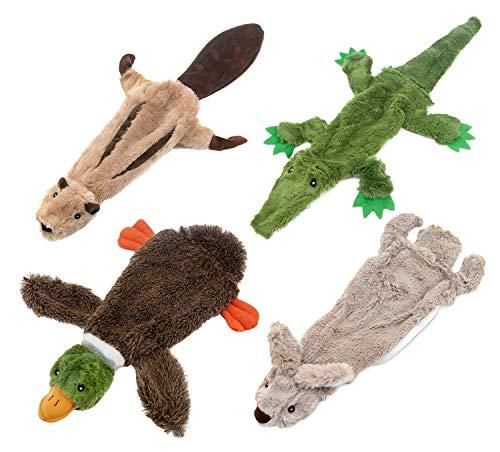 Best Pet Supplies 2-in-1 Fun Skin Stuffless Dog Squeaky Toy (Wild Duck, Hare, Squirrel, Alligator Bundle), Small (PT07-08-45-47-S)