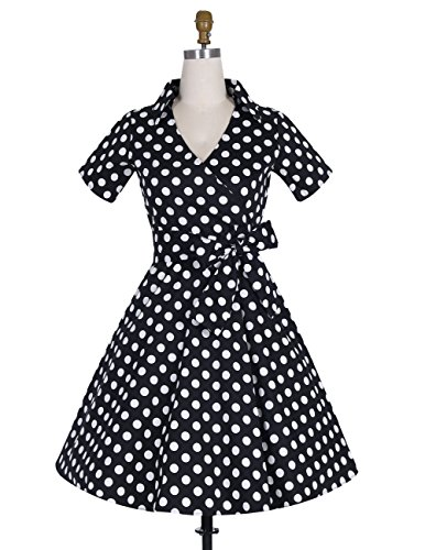 Dresstells Rockabilly Kleid 1950er Retro Polka Dots Kurz Faltenrock Petticoat Cocktailkleid Chocolate Dot XL - 2
