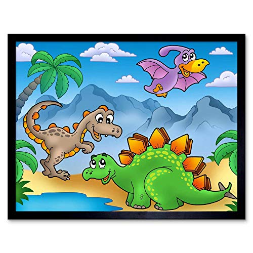 Wee Blauwe Coo Kwekerij Dinosaur Vrienden Pals Kids Slaapkamer Art Print Ingelijste Poster Muurdecoratie 12X16 Inch