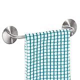 InterDesign - AFFIXX - Toallero Autoadhesivo c/Sistema de pelar y Pegar, para cocinas, baños, lavaderos, gabinetes - 28 cm - Acero Inoxidable Pulido