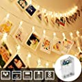 Photo Clip String Lights with Battery Operated Indoor Fairy String Lights for Hanging Photos Pictures Christmas Cards, Photo Clip Holders in Kids Bedroom Birthday Wedding Christmas Party Decoration