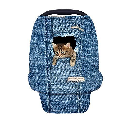 TOADDMOS Niedliche Katze, Denim-Blau, Stillbezug, dehnbarer Autositzbezug für Babys, weich, atmungsaktiv, Babyschale, Überdachung für Einkaufswagen/Hochstuhl/Kinderwagen, Geschenk für Babypartys