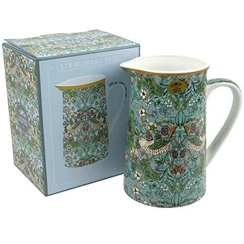"""The Leonardo Collection Teiera in porcellana fine cinese, caraffa per latte, crema, grafica """"ladro di fragole"""" di William Morris, colore tè blu, LP94034"""