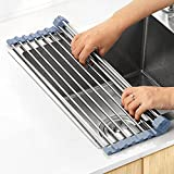 MECHEER Over The Sink Dish Drying Rack, Roll Up Dish Drying Rack Kitchen Dish Rack Stainless Steel Sink Drying Rack, Foldable Dish Drainer, Gray (17.8''x11.8'')