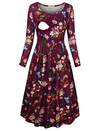CzzzyL Breastfeeding Tops Latched Mama, Woemens Semi Formal Party Leisure Breast Feeding Dress Scoop Neck Floral Knitting Relaxed Fit Nursing Clothing(Purple,Small)