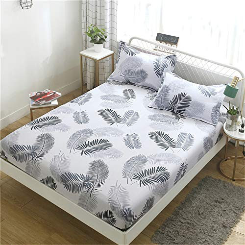 Chickwin Printed Fitted Sheets 100% Polyester Bedding Sheets, Double King Single Size Bed for Deep Pocket 25cm - Shrinkage Fade Resistant Easy Care (Grey feather,120x200x25cm)