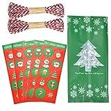 Jinlaili 50 Stück Beutel, Weihnachten Süßigkeiten Tüten, Geschenke Süßigkeiten Kekse Bundle Xmas Geschenkverpackung Taschen, Weihnachts Geschenktüten, Candy Tüten (Grün)