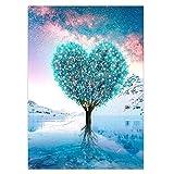 VETPW DIY 5D Diamante Pintura Kit, Bricolaje Diamond Painting Kit Completo Bordado De Punto De Cruz Diamante Arts Craft para Decoración de la Pared del Hogar (30x40CM) - árbol de Amor Azul