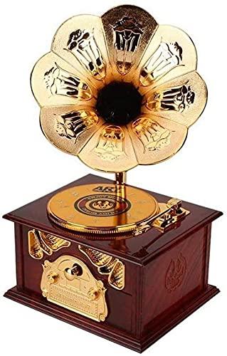 YQG Carillon in Legno Antico per Bambini Fonografo in Metallo Carillon a manovella Carillon Classico Decorazioni per la casa Meccanismo Regalo di Compleanno di Natale