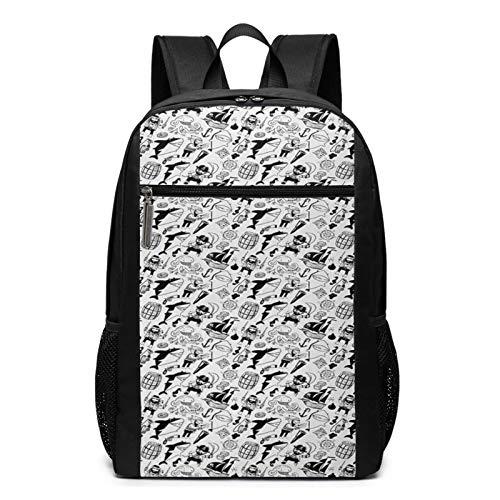 Schulrucksack Freibeuter Charaktere Haie Nautisch, Schultaschen Teenager Rucksack Schultasche Schulrucksäcke Backpack für Damen Herren Junge Mädchen 15,6 Zoll Notebook
