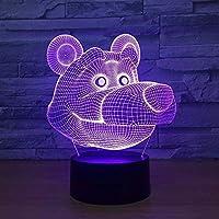 常夜灯3Dかわいい漫画クマの形常夜灯イリュージョンランプ7色変更装飾ライト子供のおもちゃリモコンで触れる
