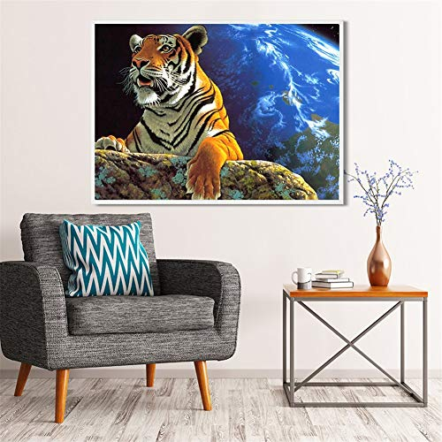 Diamond Painting large Full Drill Universo tigre,5D DIY pintura Diamantes de imitación de cristal dot punto de cruz bordado art craft for Living bedroom wall decor Round Drill,50x70cm(20x28in)