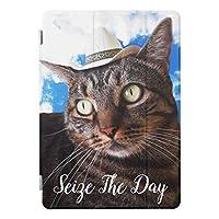 RECASO iPad mini5 2019 A2133 A2124 A2126 スマートカバー iPad mini5 カバー iPad mini (第 5 世代) ケース アイパッド ミニー5 ケース 三つ折り保護カバー クリアケース 軽量・極薄タイプ帽子 持つ美しくかわいい猫は日 雲 握ります