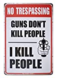 K&H No Trespassing Retro Distressed Metal Tin Sign Poster Wall Display 12X8-Inch
