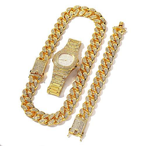 Fira Woo Collar de Cadena Cubana, Pulsera de Hip Hop, Reloj de Diamantes, Juego de Joyas de Hip Hop para Hombre de 3 Piezas