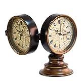 Reloj de sobremesa Reloj de mesa de escritorio redondo de metal vintage de doble cara Reloj de escritorio clásico para oficina en casa, escritorio, estantería y hogar D & eacute; cor Gift 6 pulgadas
