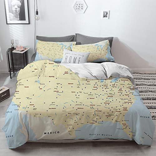 3 Piece Duvet Cover Set No Wrinkle Ultra Soft Bedding Set,Map,United States Interstate Map America Cities Travel Destinations Road Route Decorati,2 pillowcase 50 x 75cm 1 Pc Bed sheet 260 x 220cm