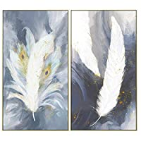 YQQICC 現代の抽象的な羽の写真家の装飾北欧のキャンバス絵画壁アートポスターとプリントリビングルームギャラリーの装飾-40x70cmx2フレームなし