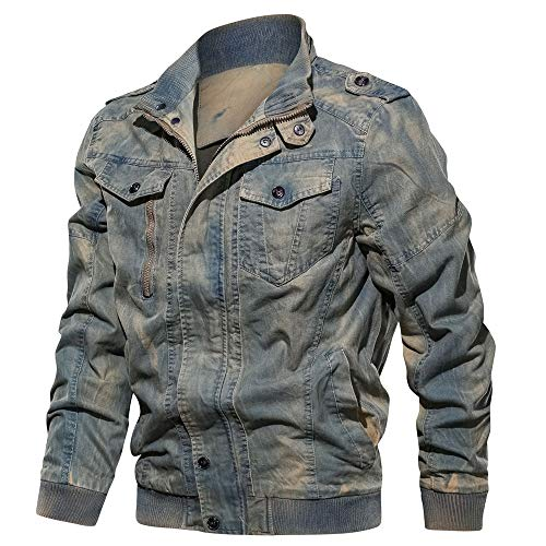 WEEN CHARM Mens Jean Jacket Military Jacket Field Jacket Bomber Jacket Cotton Denim Jacket Blue