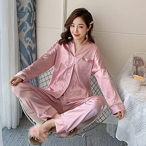 Gbrand Nuevos Pijamas para Mujer Primavera Color sólido Manga Larga Seda con Cuello en V Conjunto de Ropa de Dormir Conjuntos de Pijamas de Seda Conjunto de Pijamas de niña Joven-M_40-50KG
