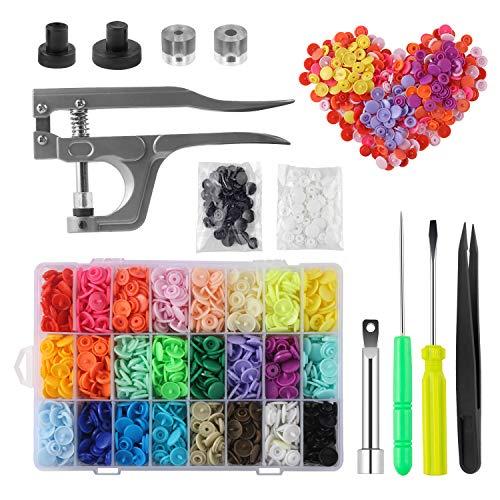 MSDADA Snaps Buttons Snap Pliers, 400 Juegos de Botones de Plástico T5 de 24 Colores, Sin Coser, Kit de Cierres para Costura, Manualidades, Ropa y Baberos de Bebé