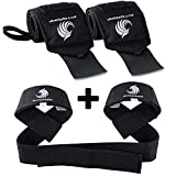 Fitgriff® Bande Poignet + Sangles de Levage de Musculation (Ensemble) / Protego Poignet + Sangle Sangle de Tirage Musculation/Wrist Wraps + Lifting Straps (Black Original)