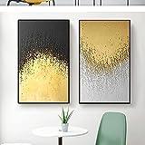 Arte en lienzo Pintura Abstracto Dorado Geométrico Minimalista Póster e impresión Pared Imagen decorativa Sala de estar Obra de arte 20x30cm (7.87x11.81in) x2 Sin marco
