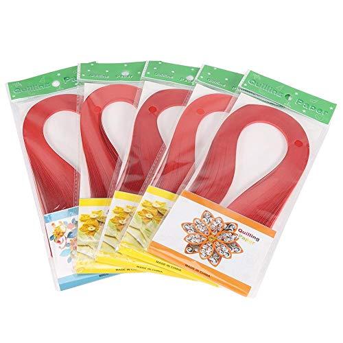 ViaGasaFamido Carta per Quilling, 600 Strisce Carta per Origami di Colore Puro a Colori Puri Larghezza 3 mm Carta per Quilling Artigianale Fai-da-Te Colorata(Rosso)