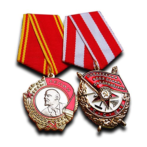 Trikoty Order of Lenin + Order of The Red Banner Set - Highest Soviet Military Medal Award for Exemplary Service Antique Reproduction USSR Soviet Gift