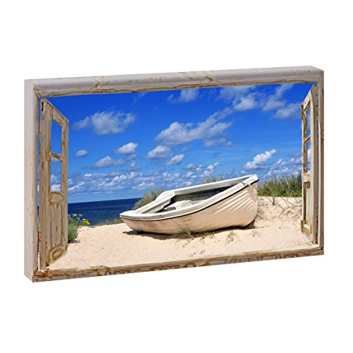 Fensterblick Boot am Strand | Panoramabild im XXL Format | Kunstdruck auf Leinwand | Wandbild | Poster | Fotografie (120 cm x 80 cm | Querformat, Farbig)