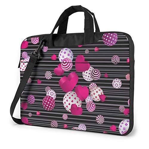 15.6 inch Laptop Shoulder Briefcase Messenger Valentine's Day Love Heart Balls Tablet Bussiness Carrying Handbag Case Sleeve