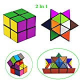 Tiandirenhe Magic Star Cube, 2 in 1 Transforming Geometric Puzzle Combo Infinity Fidget Cube Toys Smooth Surface Stress Anxiety Relief Brain Teaser for Teenager and Adults