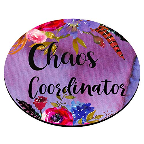 Smooffly Funny Quote Chaos Coordinator Mouse Pad, Desk Accessories, Quote Mouse Pad, Office Decor, Watercolor Floral Round Mouse Pad, Office Supplies Photo #4