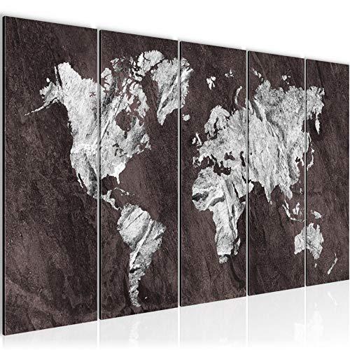 Bilder Weltkarte World map Wandbild 150 x 60 cm Vlies - Leinwand Bild XXL Format Wandbilder Wohnzimmer Wohnung Deko Kunstdrucke Weiß 5 Teilig - MADE IN GERMANY - Fertig zum Aufhängen 002956b