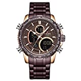 NAVIFORCE Mens Luxury Analog Digital Stainless Steel Watches Sport Waterproof Quartz Watch Business Fashion Military Multifunctional Wristwatch