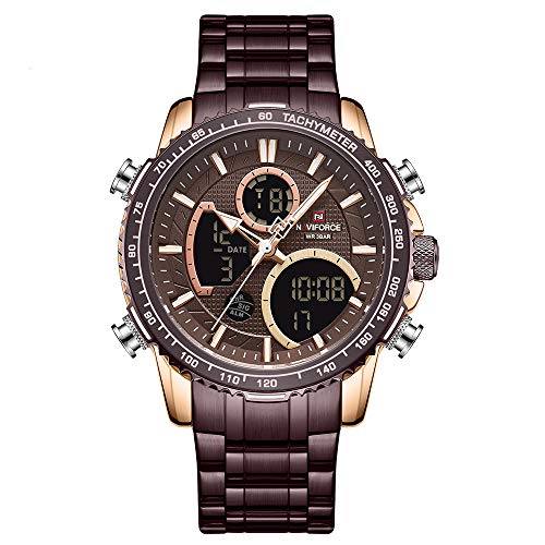 NAVIFORCE Mens Luxury Analog Digital Stainless Steel Watches Sport Waterproof Quartz Watch Business Fashion...