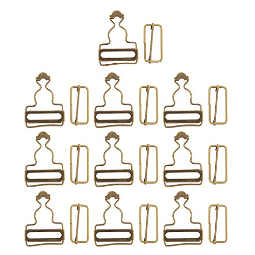 Fliyeong 6 Sätze Hosenträger Schnallenversteller Silber/Bronze Metall Latzhose Clips Verschlüsse für Jeanskleider - Bronze, wie beschrieben...