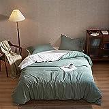 MILDLY Set di biancheria da letto 155x220 - 100% Biancheria in cotone lavato con testruttura - 3 pezzi Set di biancheria da letto morbida di lusso Qualità dell'hotel (salvia verde, nessun consolatore)
