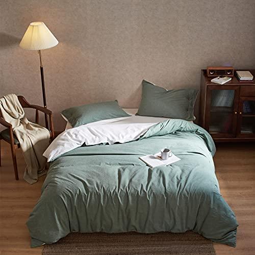 MILDLY Bettwäsche 155x220 Baumwolle Grün - 3 Teilig 100% Weiche und Angenehme Gewaschene Baumwolle Schlafkomfort - 1 Bettbezüge 155 x 220 mit Reißverschluss + 2 Kissenbezüge 80 x 80 cm