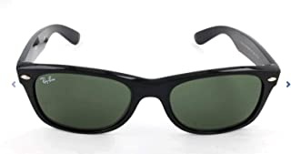 Ray-Ban rb2132 Unisex New Wayfarer Polarized Sunglasses, Black/Crystal Green, 52mm