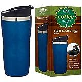 Copo Termico Aço Inox 450ml Cofee To Go Azul