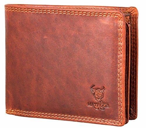 MATADOR Herren Leder Portemonnaie TüV geprüfter RFID & NFC Schutz Geldbörse Vintage Braun