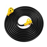 Lavotla RV Extension Power Cord 25FT with Handles - 30 AMP Male to 30 AMP Female - Heavy Duty & Weatherproof Electrical Camper Trailer Marine Boat Shore Cable - (3) 10AWG, STW Molded Connector