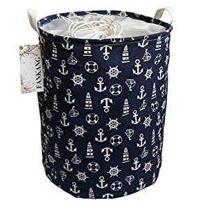 FANKANG Storage Basket, Nursery Hamper Canvas Laundry Basket Foldable with Waterproof PE Coating Large Storage Baskets for Kids Boys and Girls, Office, Bedroom, Clothes,Toys(Navy Anchor)