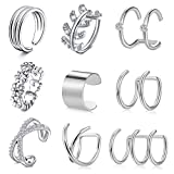 Crdifu Ear Cuffs Pendientes de Clip de Oreja de Acero Inoxidable Pendientes de Caracol de hélice no Perforados Falsos...