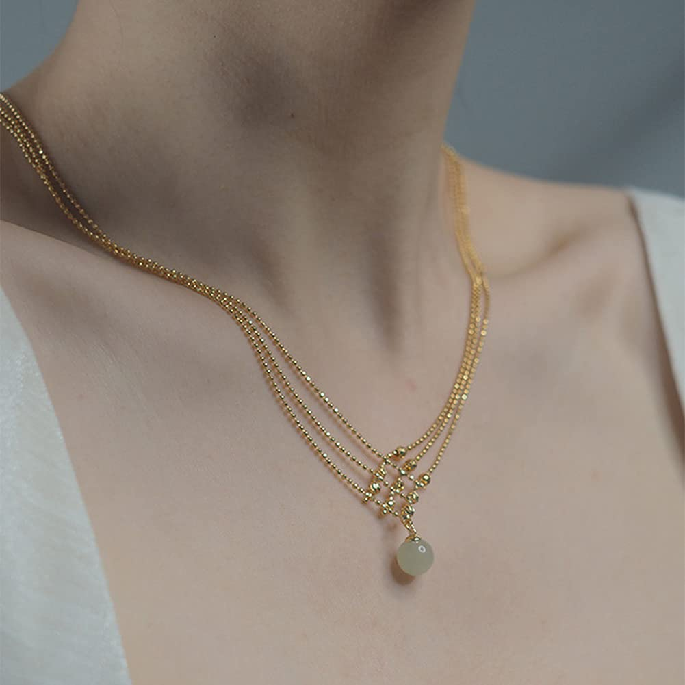 5 ☆ very popular 3 Layer Gold Necklace Quality inspection Minimalist Jade Pendant Beaded Hetian Neck