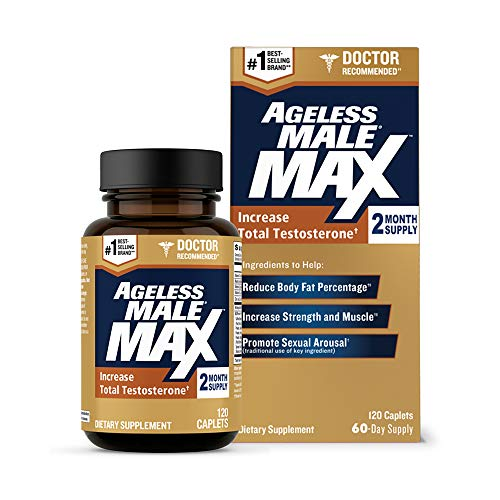 Ageless Male Max Total Testosterone Booster for Men and Nitric Oxide Booster - Improve Workouts, Reduce Fat Faster Than Exercise Alone, Support Sleep, Drive & Energy, 120ct - 2 Month Supply