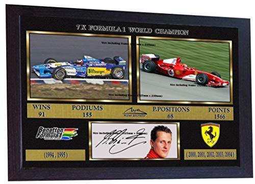 SGH SERVICES Foto gerahmt, Michael Schumacher-Weltmeister Mercedes Autogramm Formel 1 signiertes Autogramm, gerahmt