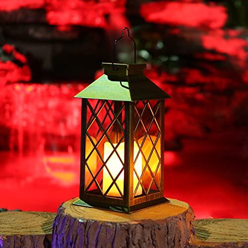 Tomshine Solar Lantern Light Outdoor Garden Hanging Candle Lights Solar Powered Metal Lamp for Patio Decor Yard Art Garden Accessories Outdoor Lawn Courtyard Decorations