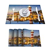 Easy to Clean Non-Slip Place Mats for Kitchen Table, United States Hilton Head South Carolina Lighthou, Table Mats for Restaurants and Parties, Set of 4